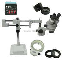 3.5X 90X Double Arm Boom Stand Trinocular Stereo Zoom Microscope+14MP HDMI USB Industrial Microscope Camera+144 LED Lights