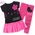 1 Set Retail 2017 Hot Sale Girls set 100% cotton kids clothing set, T-shirt+pant, hello kitty children set