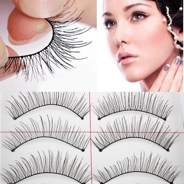 Natural Long 10 Pairs Thin Fake False Eyelashes Eye Lash Clear Makeup Tool