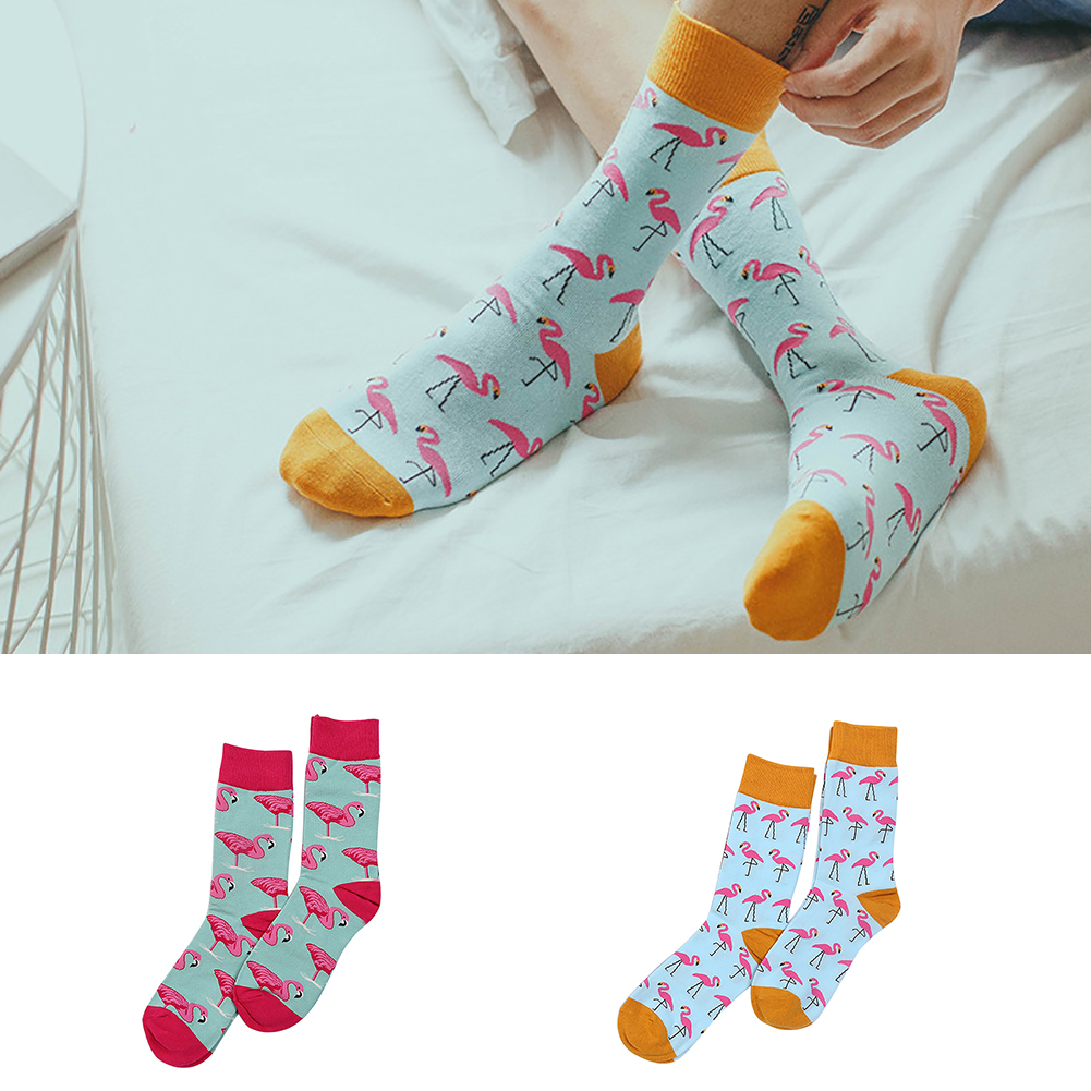 Winter Funny Animal Printed Flamingo Men Sock Elastic Cotton Casual Adult Sock