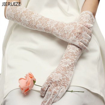 W magazynie białe czerwone koronkowe rękawiczki ślubne długość łokcia pełne rękawiczki ślubne tanie akcesoria ślubne darmowa wysyłka tanie i dobre opinie JIERUIZE Poliester Palec Appliqued Jeden rozmiar DFFF Apartament dla nowożeńców rękawice Elbow WOMEN Dla dorosłych
