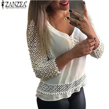 ZANZEA 2017 Women Sexy Blusas Fashion Ladies V Neck 3/4 Sleeve Hollow Out Shirts Blouse Spring Casual Tops Plus Size S-3XL