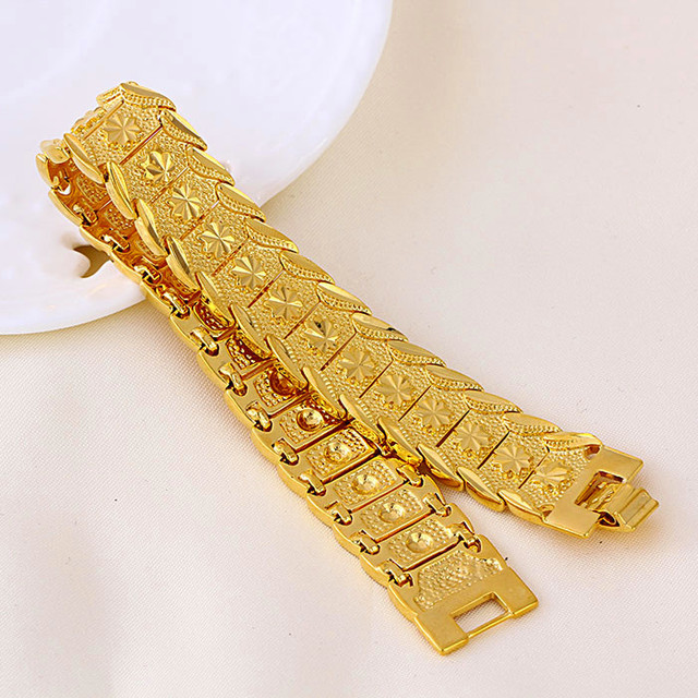item wholesale mm cm thick accessories chain new mens on bracelet from real plated bracelets jewelry cuban in men trendy gold fashion stamp link