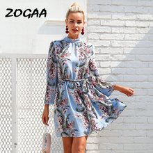 Women Bohemian Elegant Summer Dress 2019 New Lady Chiffon Long Sleeve Backless Floral Printed Bows Beach Party Casual Midi