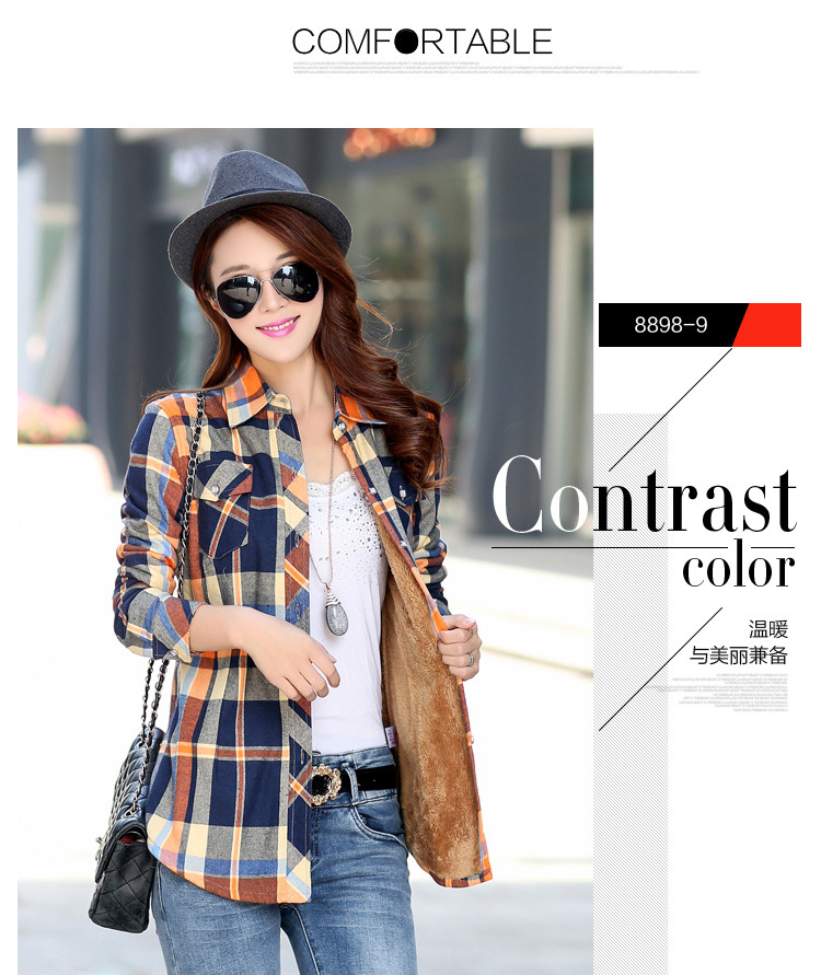 19 Brand New Winter Warm Women Velvet Thicker Jacket Plaid Shirt Style Coat Female College Style Casual Jacket Outerwear 18