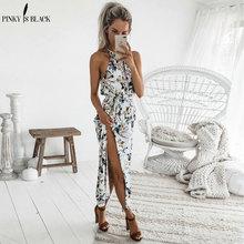 PinkyIsBlack Floral print halter long dress Women 2018 maxi dresses vestidos Sexy sleeveless white split beach summer dress цена 2017