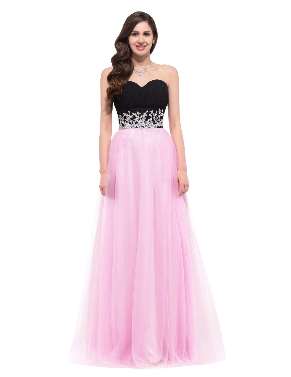 Pink And Black Prom Dress - Ocodea.com