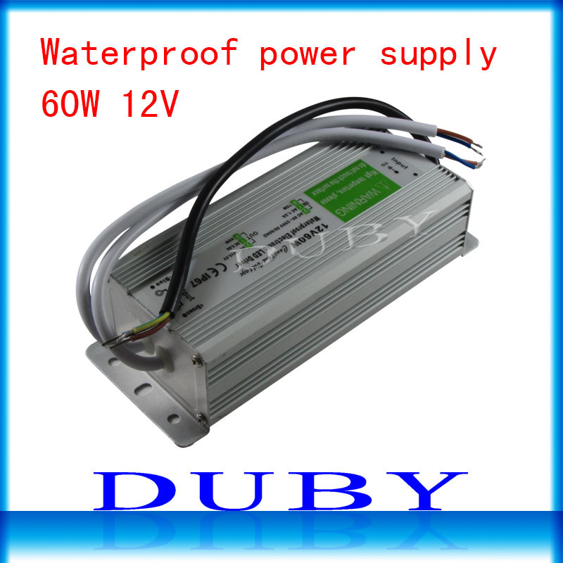 IP67 12V 5A 60W AC100-240V Input Electronic Waterproof Led Power Supply/ Led Adapter 12V 60W free shipping ip67 12v 5a waterproof electronic led power supply silver 100 240v