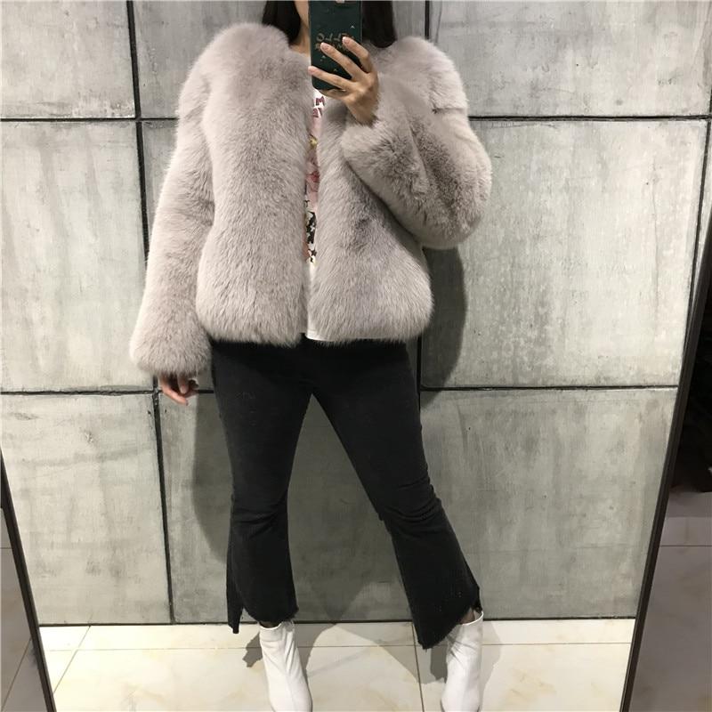 Renard Ciel Veste kaki blanc Femmes De Naturelle pu Manteau Fourrure Complet Pelt noir Beige Dame Vraie Hiver gris dhrsQtC