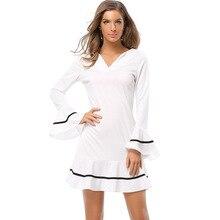 BooLawDee beach casual summer women dresses V neck collar full sleeve ruffles white mini above knee length S M L XL XXL 1A118