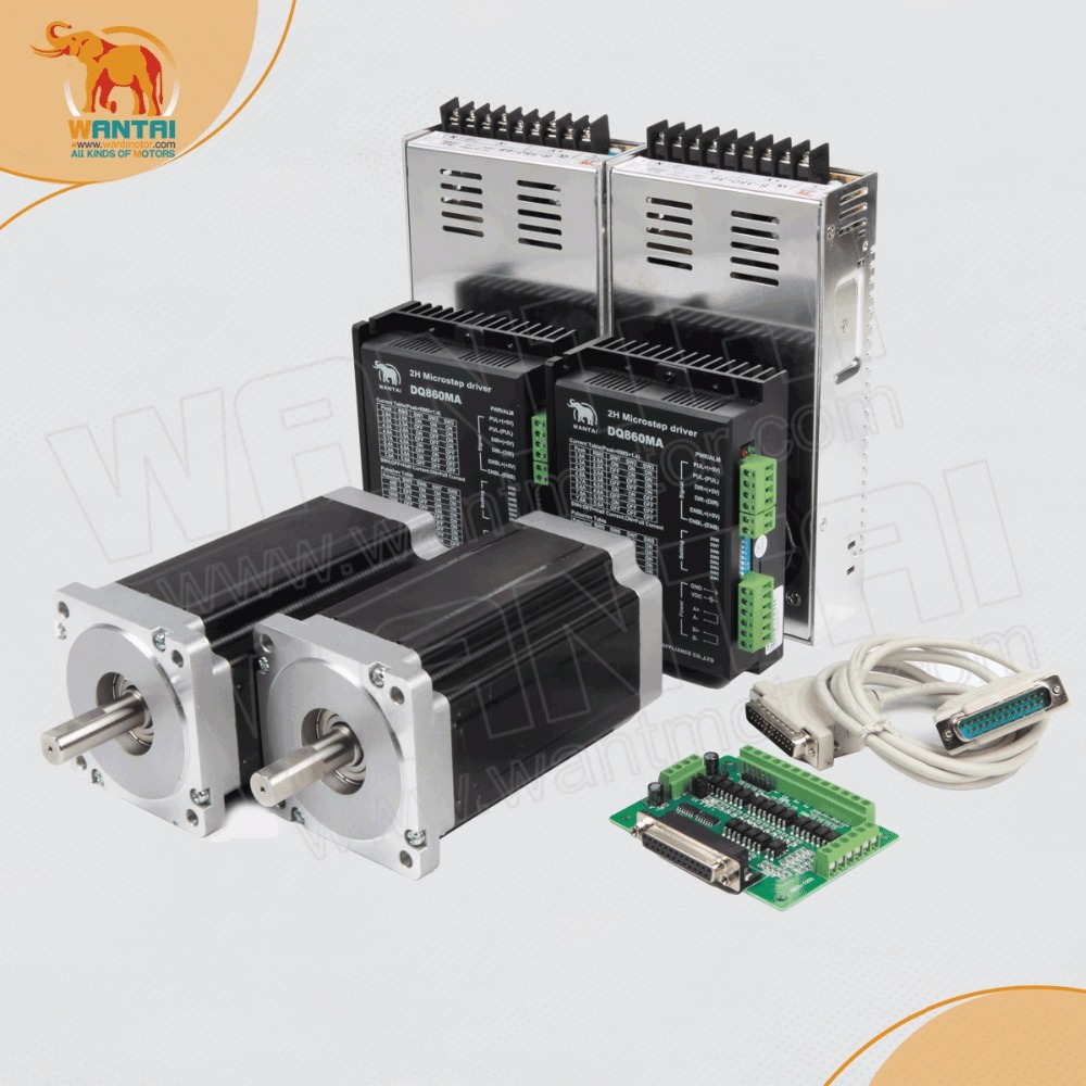 2Axis Wantai Nema34 Stepper Motor 85BYGH450D-008 1090oz-in+Driver DQ860MA 7.8A 80V 256Micro CNC Plasma Engraving Grind [usa for free] wantai 5pcs stepper motor driver dq860ma 80v 7 8a 256micro cnc router mill cut engraving grind foam embroidery