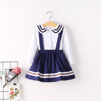 2017 Autumn New Baby Toddler Girl T Shirt Strap Skirt Set Sailor Preppy Style 2 Piece