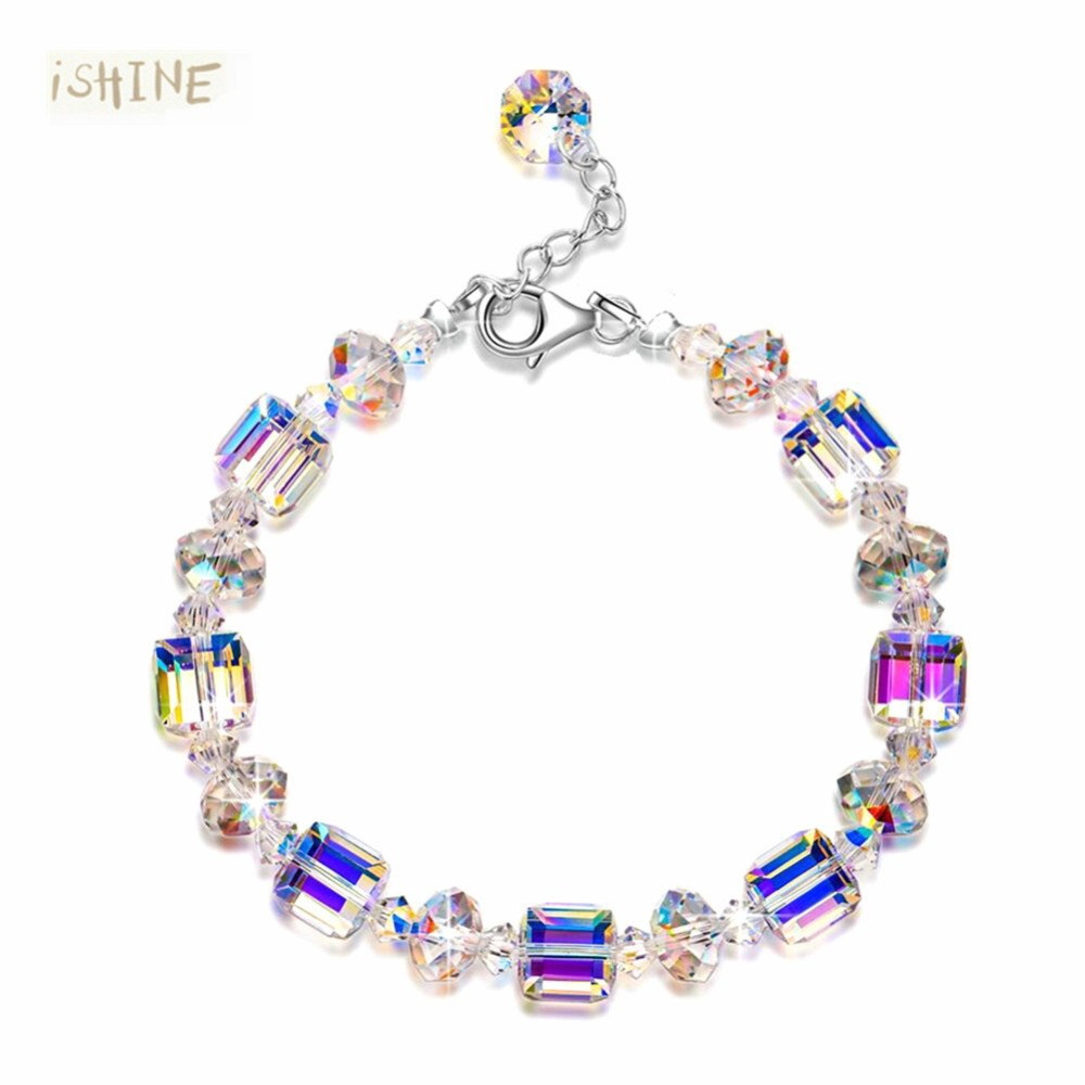 Czech Crystal Beaded Bracelet High Grade Charming 925 Sterling Silver Chain Beaded Bracelet For Women Men Unisex