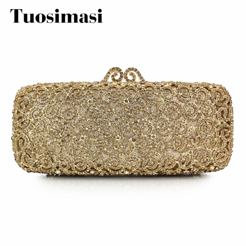 Evening Bags Women Clutch Bags Evening Clutch Bags Wedding Bridal Handbag Golden Fashion Rhinestone Bags Party Purses(8740A-G) retro 2017 floral beaded handbag women shoulder bags day clutch bride rhinestone evening bags for wedding party clutches purses