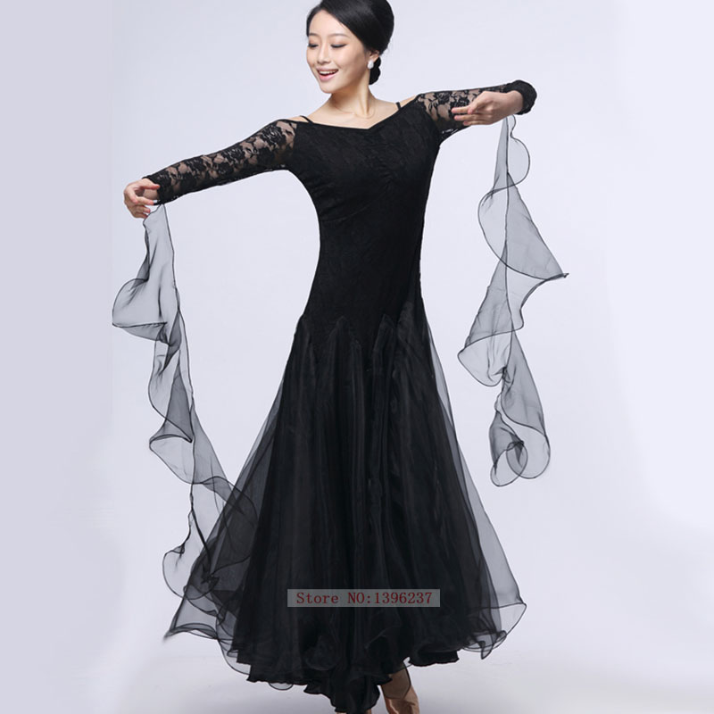 6fd78695b Dress For Ballroom Dancing Adult Long Sleeve Elegant Lace Practice Costume  Simple Women Ballroom Waltz Dresses