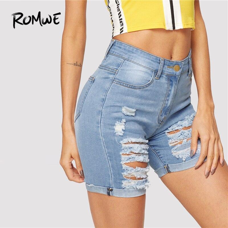 ROMWE Ripped Rolled Hem Denim   Shorts   Blue Button Fly Mid Waist   Shorts   New Stylish Glamorous Summer Women Skinny   Shorts