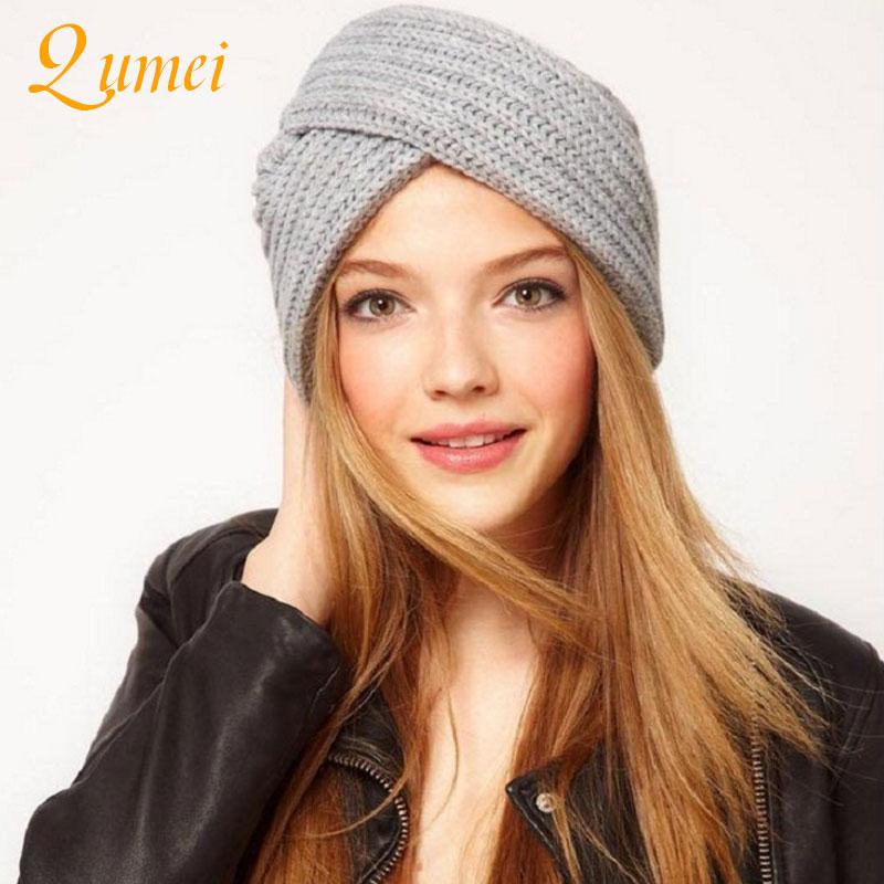 1pcs Drop-shipping   Skullies     Beanies   Women Hats Bohemian Wool knitted Muslim Cap Crossknitted Hat Winter Casual Warm Caps
