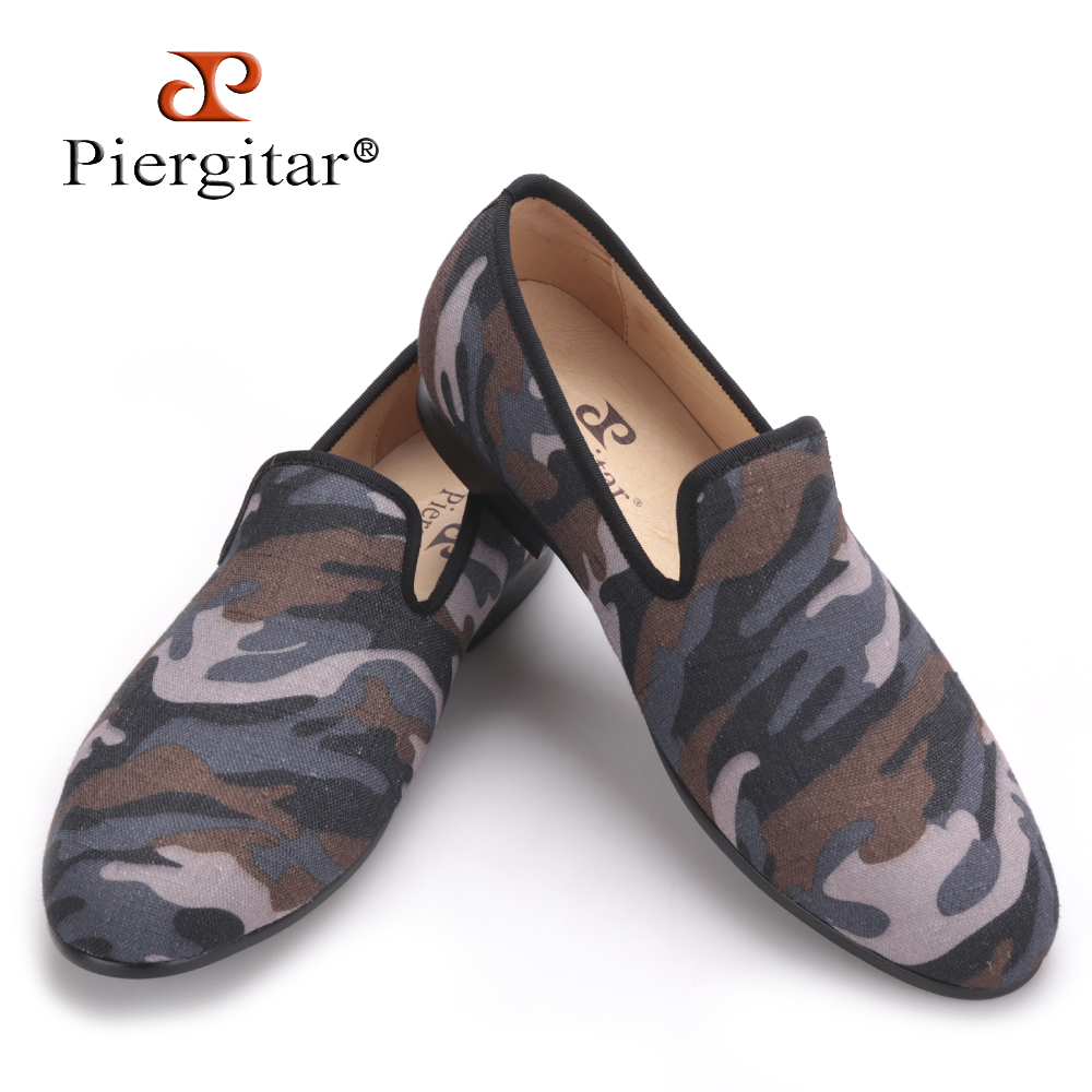 Piergitar British style Classic Camouflage men smoking slippers Handmade men Mix color canvas loafers men casual and prom flats