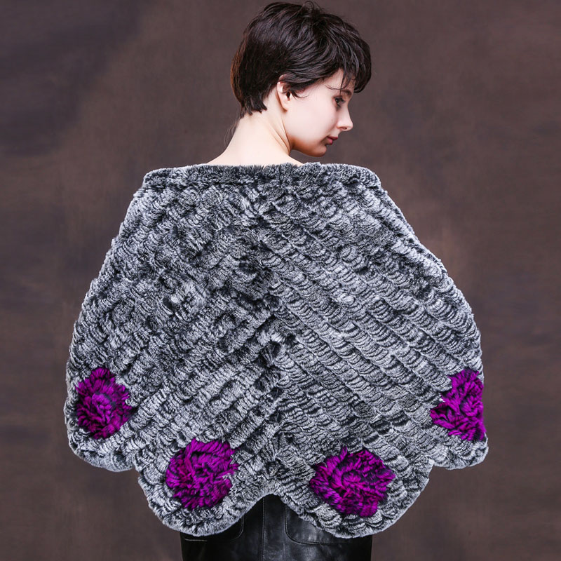 Flower knitted natural rex rabbit fur shawl women fashion real fur poncho with tassels 2018 new style autumn winter