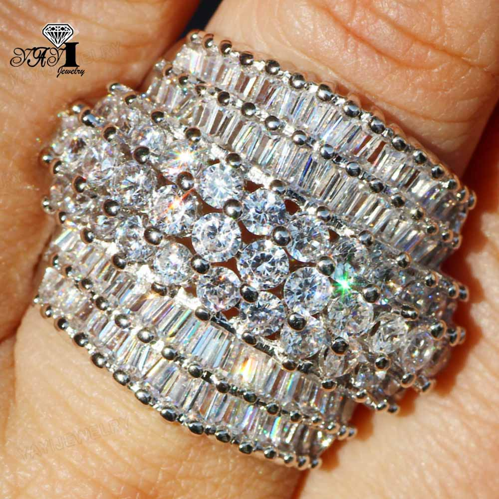 YaYI Jewelry Princess Cut 18  CT White Zircon Silver Color Engagement Rings wedding Heart Rings Girls Party ring  Gifts 936 3