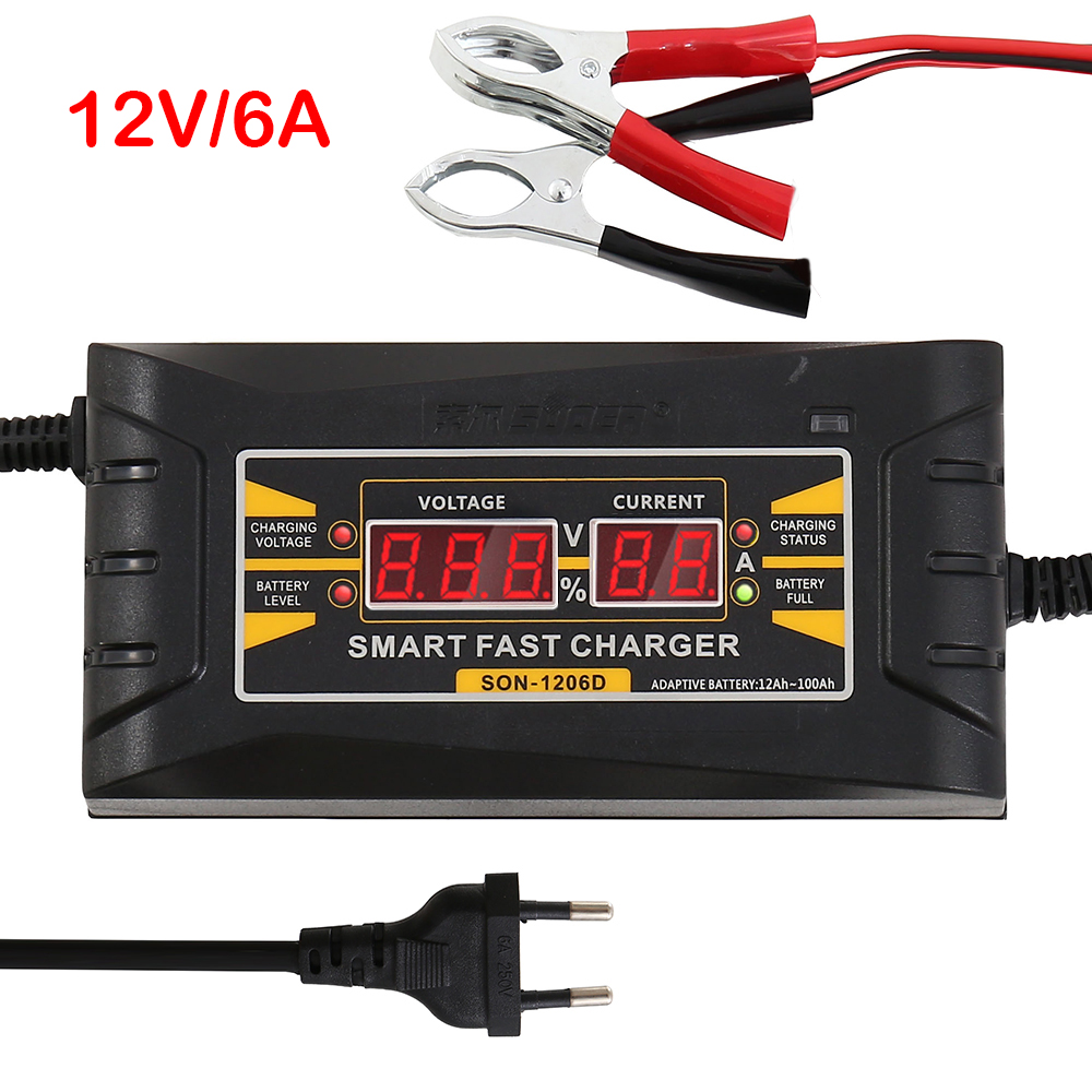 Cargador de batería automático de motocicleta de coche rápido 110V / 220V a 12V 6A 10A carga rápida de poder con enchufe de UE