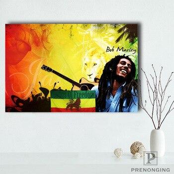 Холст постер из шелковой ткани Боб Марли-флаг (EM-2-102) на заказ HD Домашний Декор Ретро Классический Винтаж @ 190414-H-31