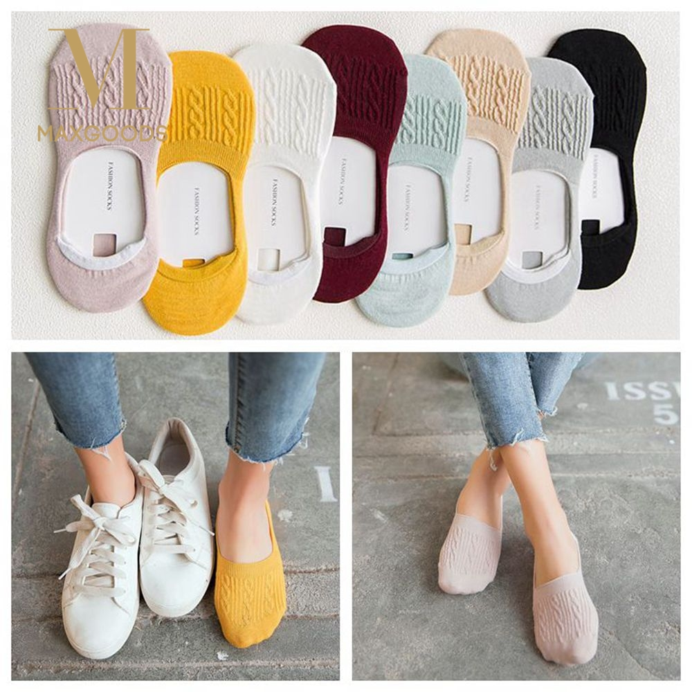 1Pair Candy Color Invisible Non-slip Low Cut Socks Fashion Women Casual Cotton Breathable Ankle Boat Socks носки