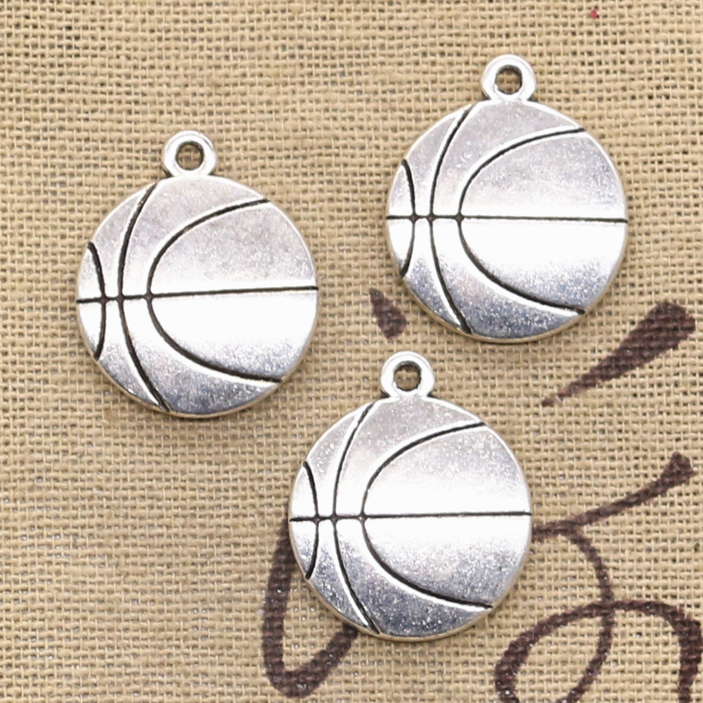 8pcs Charms Double Sided Basketball Football 18x21mm Antique Silver Color Pendants DIY Making Findings Handmade Tibetan Jewelry