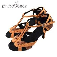 Купить с кэшбэком Free Shipping Ladies Ballroom Dancing Shoes Tan Red leather sole high heel 8cm salsa dance shoes women NL010