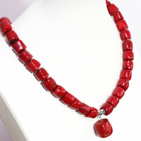Fashion top quality natural red coral irregular 11*15mm tube barrel beads 13*18mm pendant charms necklace 18inch B1505