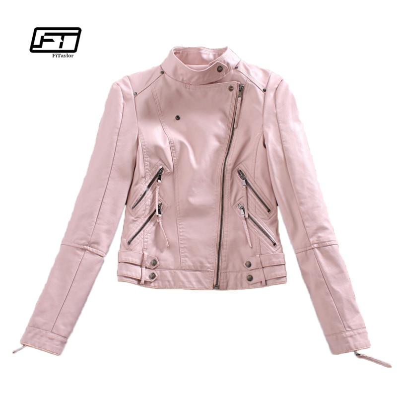 Autumn Womtne Faux   Leather   Jacket Short Design Soft Pu Slim Pink Jacket Punk Fashion Womens Biker Jacket Motorcycle Clothing