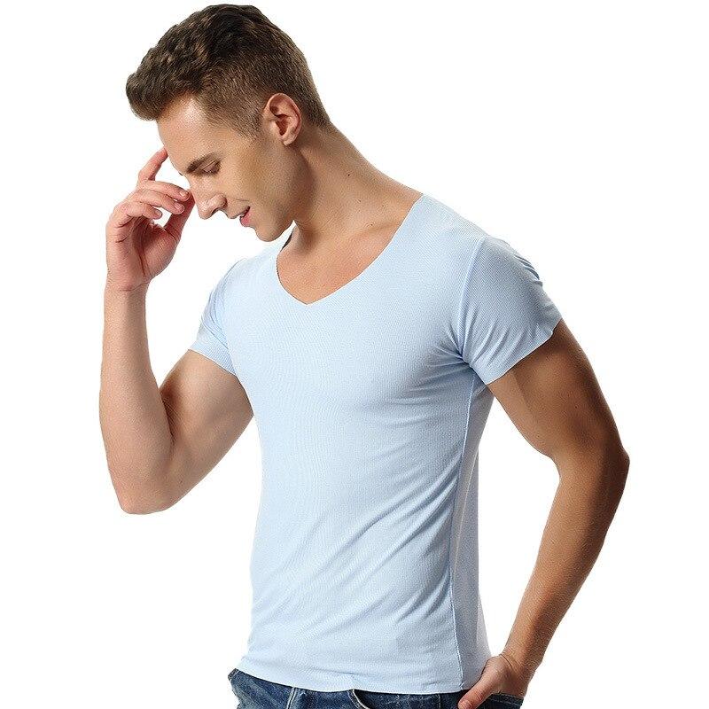 Mężczyźni Włókien Bambusa Koszulki 2018 lato męskie Koszulki