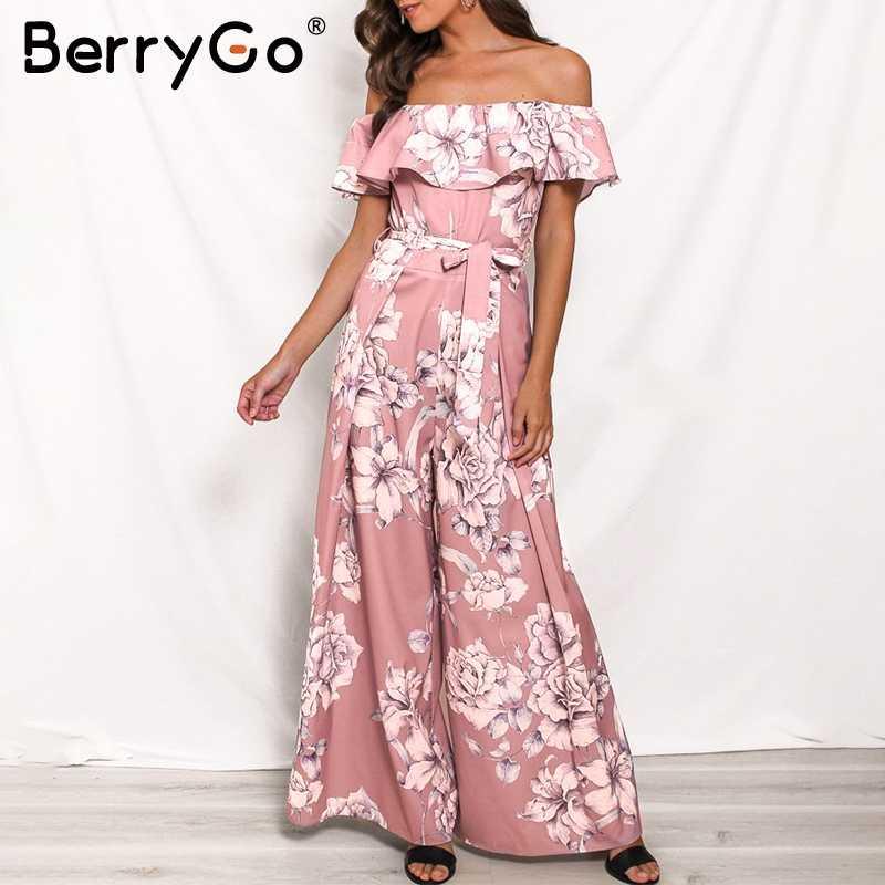 BerryGo kobiety kombinezon romper eleganckie off ramię skrzydła panie długi kombinezon w stylu Boho w kwiaty drukuj lato plaża potargane playsuit
