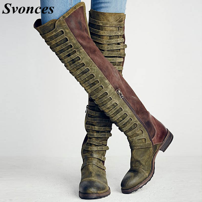 Western Olive Green Women Long Boots Shoes Flat Knee High -1335