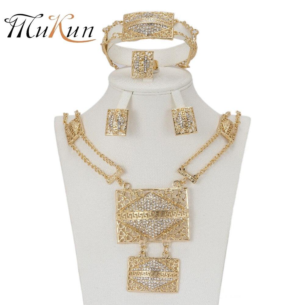 Mukun Для женщин свадебные Наборы свадебных ювелирных изделий Дубай Африки Бусины Ювелирные наборы Кулон Цепочки и ожерелья Серьги Подражали…
