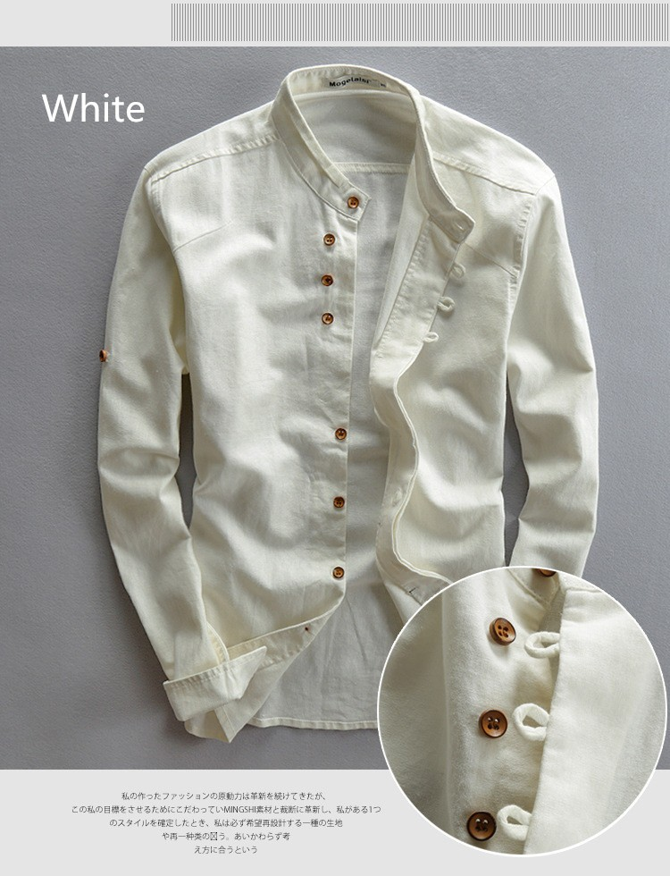 5c19008e1e 2016 spring mandarin collar full sleeves cotton linen shirt men white black  Chinese casual shirts breathable summer shirt men