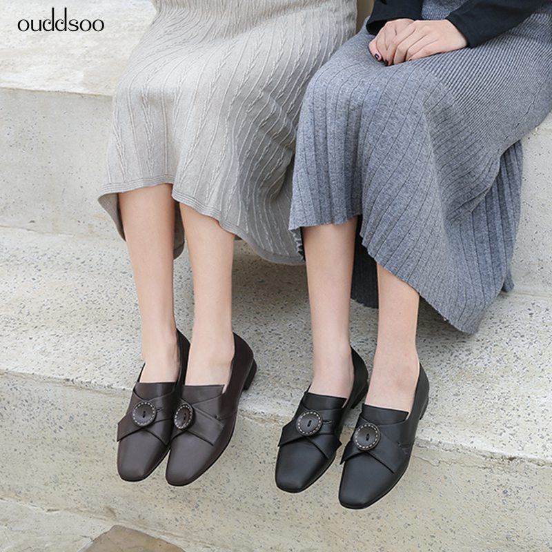 Ouddsoo Luxury Women Genuine Leather Cow Slip On New Spring Autumn Loafer Shoes Black Brown Retro Sexy Flats Ladies Woman Shoes