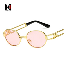 Fashion Small Oval Women Blue Mirror Punk Sunglasses Retro Men Red Tinted Lens Glasses