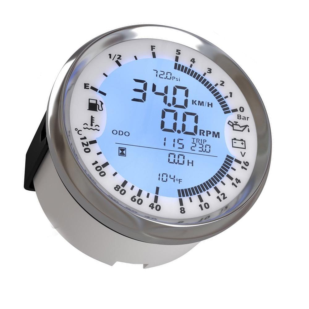 85mm 6 in 1 Multi functional GPS Speedometer Digital Tachometer Fuel Level Volt Speed Gauge With Sensor 7 Colors Backlight