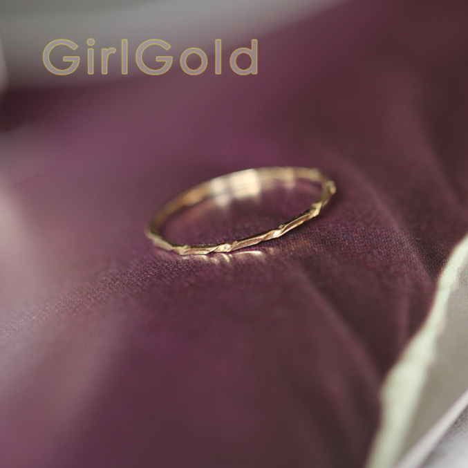 Thin-Ring BFF Bride 14k Minimalist Dainty Solid Mid-Century title=