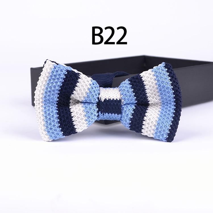 Módní pletené motýlek krásné modré s modrou oblohou pruhovaný motýl mužské motýlky svázané pánské kravaty na párty