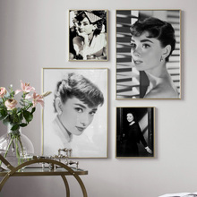 Wall Art Canvas Painting Black White Audrey Hepburn Photo Nordic Posters And Prints Pictures For Living Room Bed Decor