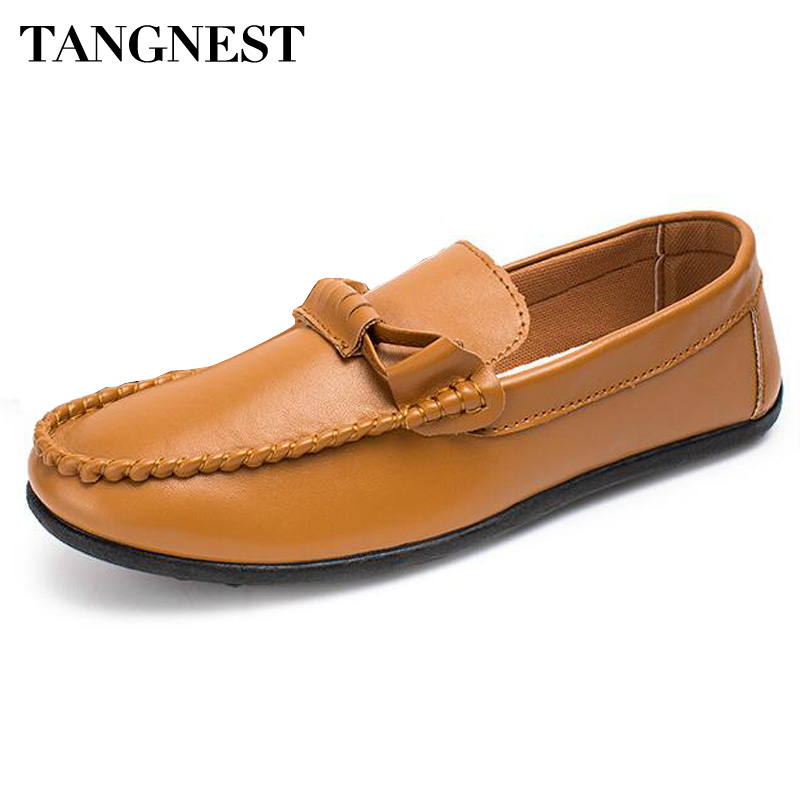 Tangnest  New 2017 Men Loafers Fashion Cross-tied Men Slip-on Flats Soft Pu Leather Driving Shoes Man Shallow Flat Shoes XMR2526 tangnest new 2017 men casual shoes genuine leather men slip on flats luxury brand man moccasins loafers driver shoes man xmr2524