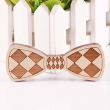Fashion Accessories Plaids Womens Mens Bowknot Bowtie Classic Carved From Wood Creative Bow Ties Necktie Wedding Party