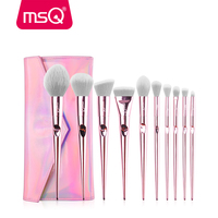 MSQ 10pcs Professional Pink Makeup Brushes Set Foundation Blusher Powder Brush Tools Flat Eyeliner Eyebrow Without Skin Hurt