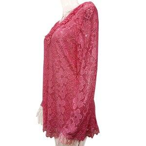 Image 2 - YTL tunique rétro en dentelle florale rose unie chemisier manches longues col en V Crochet, grande taille t shirt pour femmes 6XL 7XL 8XL H026