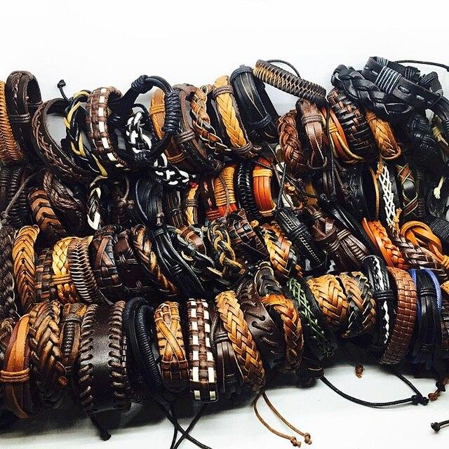 Commercio all'ingrosso 30 pz Genuino braccialetto di cuoio del mens delle donne