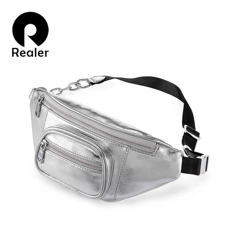 c296a40f556 REALER waist bag women PU leather designer fashion waist packs solid ...