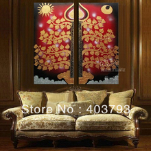 modern abstract fashion oil painting on canvas sun and moon bodhi tree of peace  free shipping