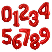 40 polegada Grande Número Balão de Hélio Foil Balões de Ar Aniversário Roxo Vermelho Figuras Happy Birthday Party Decoração Do Casamento Balon